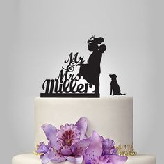 Funny wedding cake topper dog cake topper Mr&Mrs by walldecal76