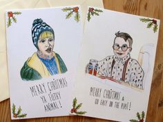 Home Alone Cards Set Of 2 - Merry Christmas Ya Filthy Animal Kevin McCallister - Fuller Go Easy On The Pepsi
