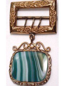 Large Antique Victorian  Green Agate FOB buckle