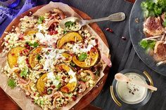 Roasted Middle Eastern pumpkin with couscous & sumac sour cream dressing