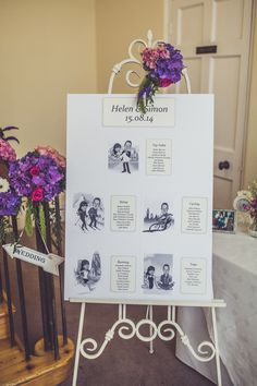 Caricature Table Plan on a shabby chic easel - Image by Claire Penn Photography - Jenny Packham wedding dress & Harriet Wilde shoes for a classic wedding with bright florals & Coast pastel bridesmaids dresses. Groom wears Marc Wallace suit.