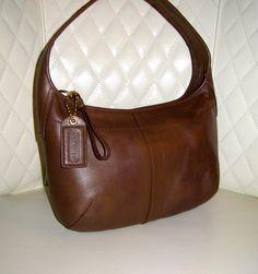 I'm auctioning '9 COACH Ergo Brown Leather Hobo Shoulder Bag ' on #tophatter