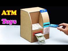 How to Make An ATM toy From Cardboard DIY at Home crafts crafts potter crafts glue gun crafts Cardboard Box Crafts, Cardboard Playhouse, Cardboard Furniture, Cardboard Crafts, Playhouse Furniture, Carton Diy, Diy Karton, Cardboard Fireplace, Halloween Crafts For Kids
