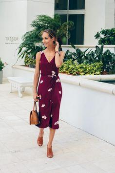 Ann Taylor summer blossom midi dress floral wrap sleeveless + Madewell Marie brown tan mule sandals | @liketoknow.it http://liketk.it/2oY2Q #liketkit