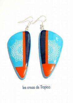boucles d'oreilles en polymère bleu et orange mandala (fimo,premo,cernit) : Boucles d'oreille par les-creas-de-tropico