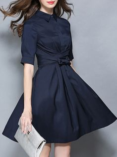 Navy Lapel Tie-Waist A-Line Dress