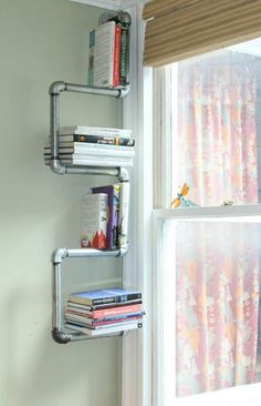 Apartment decor DIY Tutorial: Diy dorm room crafts / DIY Industrial Pipe Bookshelf and Shoe Rack Pipe Bookshelf, Pipe Shelves, Bookshelves, Dorm Room Crafts, Pipe Decor, Diy Apartment Decor, Industrial Pipe, Industrial Design, Upcycled Furniture