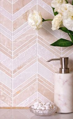 Marble Chevron Bathroom Wall Tile Chevron, Pebble Mosaic Tile, Marble Mosaic Tiles, Marble Mosaic, Beige Tile, Chevron Tile, Outdoor Flooring, Chevron Tile Backsplash, Bathroom Wall Tile