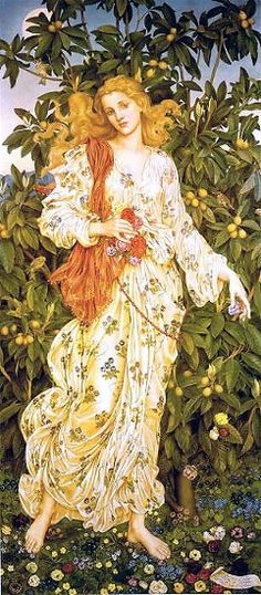 "The Goddess Flora by Evelyn De Morgan,  1894.  The scroll at the bottom of her feet reads (in Italian): ""I come down from Florence and am Flora, This city takes its name from flower. Among the flowers I was born, and now by a change of home I have my dwelling among the mountains of Scotia. Welcome and let me treasure amid northern mists be dear to you."""