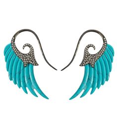 Fly Me to the Moon Turquoise Diamond Gold Wing Earrings 1