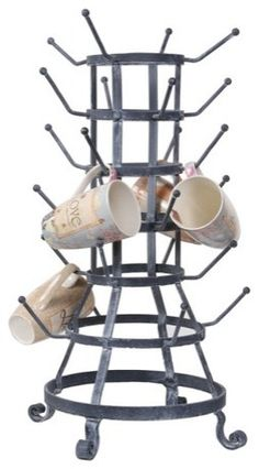 """Mug rack. I really want this but it's 24"""" tall and over $100. Mug Holder, Mug Rack, Glass Holders, Bottle Holders, Do It Yourself Organization, Organization Ideas, Storage Ideas, Modern Tabletop, House Makeovers"""