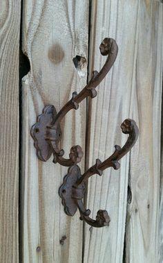 wall hook coat hook rustic hook cast iron wall hook entry hooks industrial hook bathroom hook vintage hook dual hook victorian hook