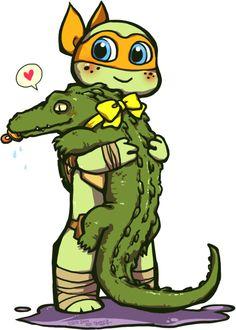 TMNT-pet gator by ~junkiemilk on deviantART. О, Майки - ты прелесть))). С крокодильчиком - умирвесьотумиления))).