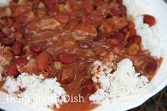 Quick Red Beans and Rice made with The Trinity, bacon, smoked sausage and canned kidney beans - you'll never believe they are a shortcut version!