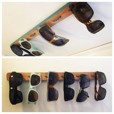 Homemade sunglasses storage solution!