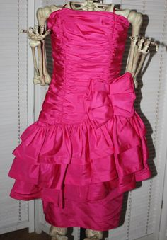 vintage 80's party prom dress pink nadine ruffles bow from $140.0