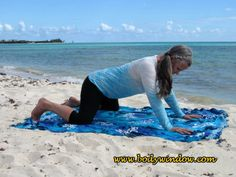 Beginning Frog Pose - From the Table Top Pose on all fours, begin testing your body, by slowly opening your knees. Keep your knees in line with your hips, if you can. This photo was taken on a beach in Playa del Carmen, Mexico. Yin Yoga Poses, Beach Mat, Mexico, Muscle, Learning, Table, Top, Outdoor, Playa Del Carmen