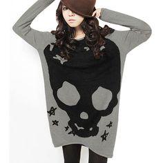 Amazon.com: Allegra K Woman Long Sleeve Skull Printed Stretch Pullover Shirt