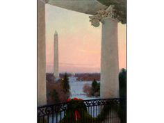 View from the Truman Balcony, 2008 by T. Allen Lawson on Curiator, the world's biggest collaborative art collection. Klimt, Great Paintings, Landscape Paintings, Holiday Cards, Christmas Cards, First Family Photos, Jamie Wyeth, American Impressionism, Digital Museum