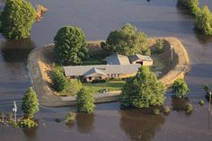 Homemade levees in the mississippi river