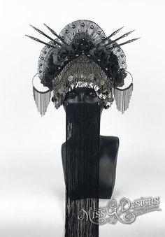 Black Flower Headdre