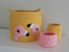 Great Photo Crochet Baskets Home Decors Storage Baskets Crochet Tips Baskets are preferred for ornamental applications in addition to can be utilized functionally for re Crochet Flamingo, Crochet Mouse, Crochet Gifts, Crochet Bags, Knit Crochet, Crochet Shoes Pattern, Crochet Headband Pattern, Crochet Patterns, Crochet Ideas