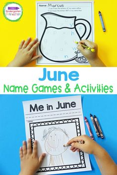 This set of June EDITABLE Name Games and Activities will help your Pre-K or Kindergarten students with hands-on, FUN name practice this summer season! This is a great activity for literacy centers or even homeschooling or learning during summer break. Easel Activities, Activity Games, Literacy Activities, Summer Activities, Kindergarten Centers, Literacy Centers, Name Practice, Name Games, Literacy Skills