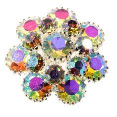 Vintage Czech Crystal AB Glass Rhinestone Costume Jewelry Flower Pin Brooch | eBay