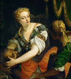 File:Veronese.Judith Holofernes01.jpg   Hair is great as is the delicate veil and the body chain. Gotta love allegory