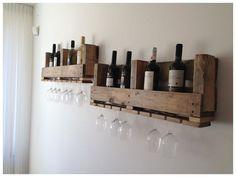 Gaaf wijnrek voor 8 flessen & glazen! Geen zin of tijd om zelf te klussen? Kijk op facebook op Wijnrekvanpallets en bestel meteen!