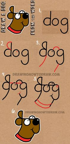 How to Draw a Dog from The Word Dog – Easy Step by Step Drawing Tutorial for Kids Cómo dibujar un perro de The Word Dog – Tutorial de dibujo fácil paso a paso para niños How To Draw Steps, Learn To Draw, How To Draw Kids, Fun 2 Draw, Learning To Draw For Kids, Learn Art, Teaching Kids, Drawing Tutorials For Kids, Drawing Tips