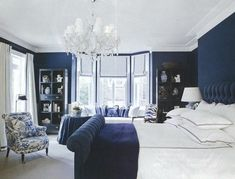 6 Gorgeous Hamptons Navy Bedrooms to Inspire - 6 Gorgeous Hamptons Navy Bedrooms to Inspire Navy Headboard, Hamptons Bedroom, Navy Bedrooms, White Lounge, Hill Interiors, Bed Reviews, Clever Design, Accent Colors, The Hamptons
