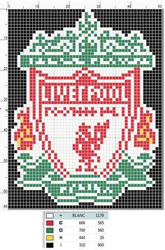 Liverpool FC Logo cross stitch pattern by UnyieldingMadness on DeviantArt Cross Designs, Cross Stitch Designs, Cross Stitching, Cross Stitch Embroidery, Liverpool Logo, Liverpool Bird, Liverpool Champions, Logo Club, Hama Beads Design