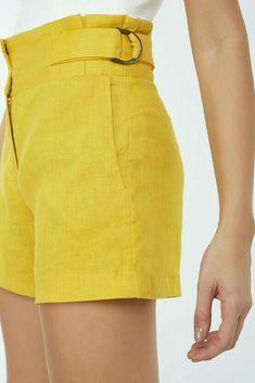 Linen Shorts, Jean Shorts, Como Fazer Short, Fashion Dictionary, Trousers, Pants, Casual Looks, High Waisted Skirt, Mini Skirts