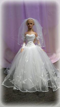 OOAK WEDDING DRESS FOR DOLLS TONNER Tyler