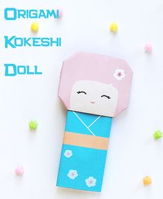 DIY: Origami Kokeshi Doll - folding instructions and printable template