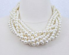 braided pearl necklace statement pearl necklace twisted pearl