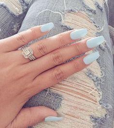 Pastel blue matte nail polish ideas for spring #nails #springnails #nailart