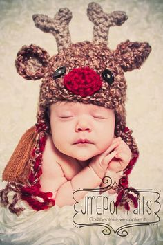 Baby Reindeer Hat with Ear FlapsCrocheted by HatAndColdCrochet, $39.00