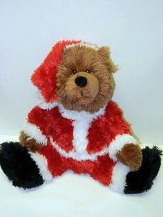 Boyds Bears Stuffed Plush Beanie Fluffy Christmas Santa Teddy Bear 2005 14in