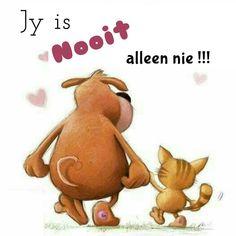 Jy is nooit alleen nie. Afrikaans, Bible, Wisdom, Motivation, Words, Garden, Quotes, Inspiration, Biblia