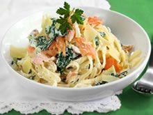 Pasta met ricotta, spinazie en zalm