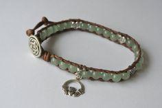 Irish Leather Beaded Wrap Bracelet with Claddagh Charm by Station8, $25.00
