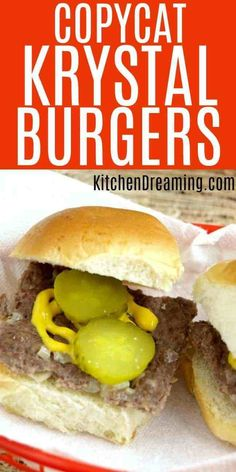 Control the ingredients and make them at home. Get your Krystal burger fix anytime you& like with these easy Copycat Krystal Burgers Hamburger Recipes, Meat Recipes, Gourmet Recipes, Cooking Recipes, Healthy Recipes, Recipies, Barbecue Recipes, Freezer Cooking, Hamburgers