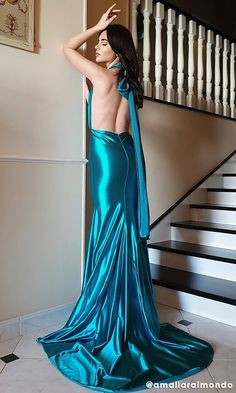 Mermaid Madness Emerald Green Satin Sleeveless Plunge V Neck Backless – Indie XO Silk Satin Dress, Metallic Dress, Satin Dresses, Sexy Dresses, Beautiful Dresses For Women, Pretty Dresses, Long Open Back Dress, Satin Dressing Gown, Plus Size Mini Dresses