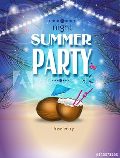 Night summer party poster