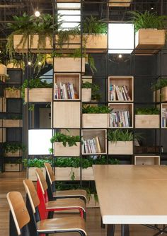 café penda bibliothèque bacs à fleurs