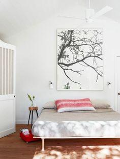 Very calm bedroom. Love the tiny bedside table. Alexandra Angle Interior Design, via Birch & Bird.