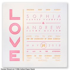 Typography Love Letterpress Wedding Invitation http://www.invitationsbydavidsbridal.com/Wedding-Invitations/Letterpress/2947-DB33394-Typography-Love-Letterpress--Neon-Pink--Invitation.pro?&sSource=Pinterest&kw=Letterpress_DB33394 #Letterpress #WeddingInvitations #DavidsBridal