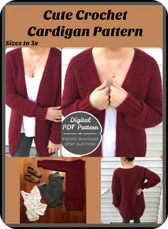 Ready for your next crochet project? Snuggle up with your favorite yarn and crochet this quick and cozy cardigan. The Airport Cardigan features drop sleeves, a long roomy bodice, and a heavy, squishy textured design paired with traditional ribbing.#crochet #afflink #fashion #patterns